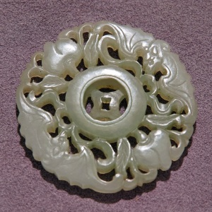 white jade pendant of two bats, two lots , blessings of coin-longevity,.